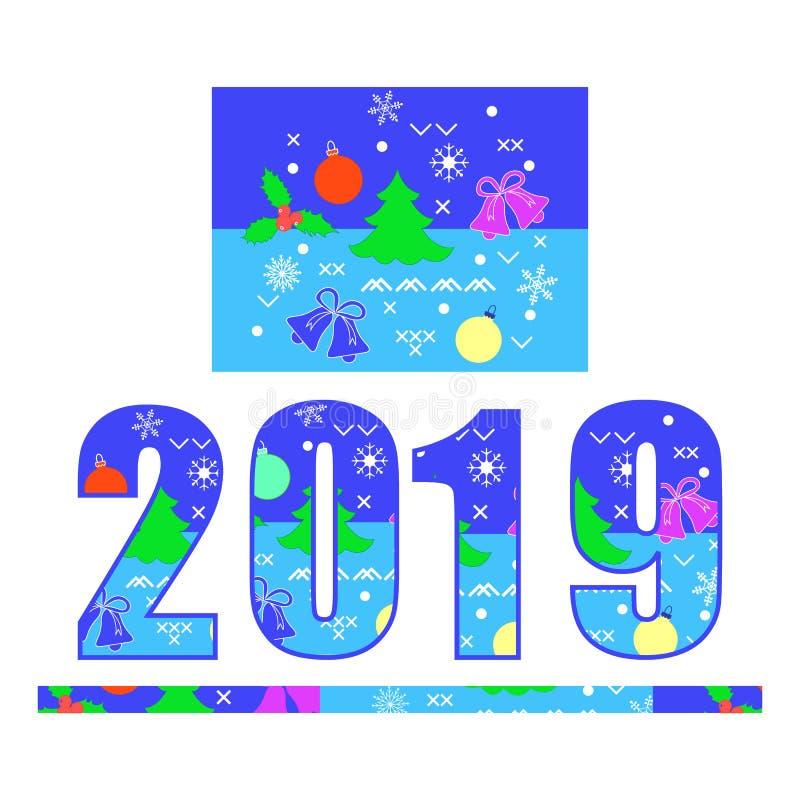 Nummer 2019 som dekoreras med julsymboler stock illustrationer