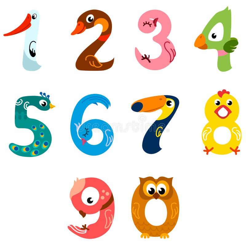 Nummer som fåglar stock illustrationer