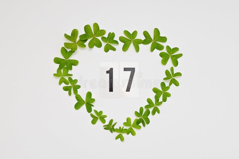 Nummer 17 som firar Sts Patrick dag i grön hjärtaram arkivfoton
