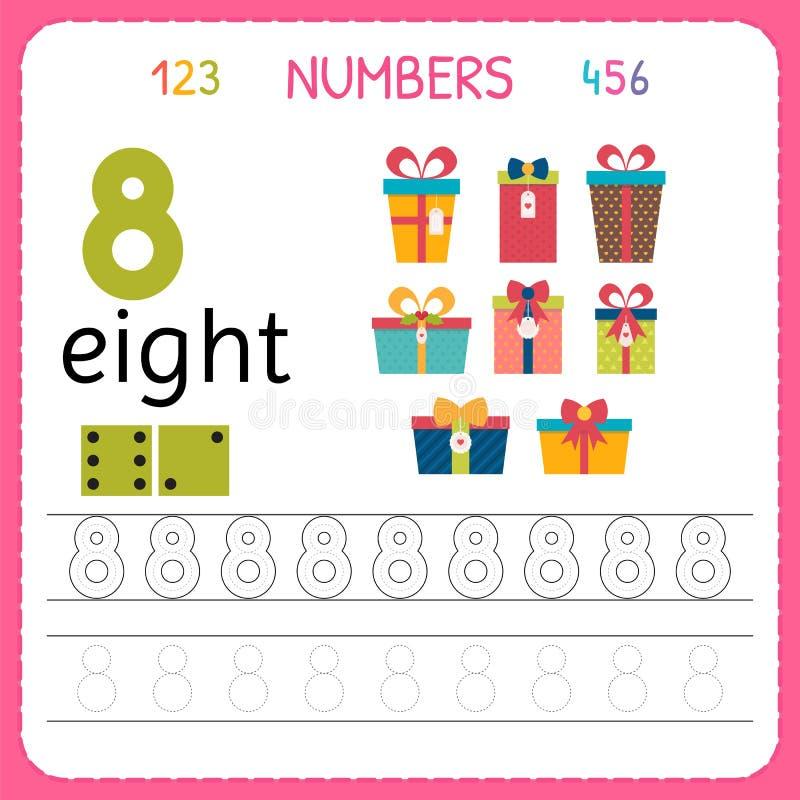 Nummer som spårar arbetssedeln för förträning och dagis Skriva nummer åtta Övningar för ungar Matematiklekar royaltyfri illustrationer
