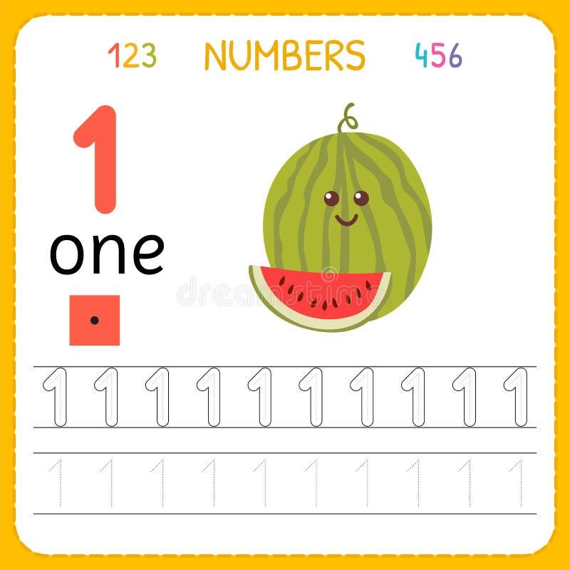 Nummer som spårar arbetssedeln för förträning och dagis Skriva nummer ett Övningar för ungar Matematiklekar royaltyfri illustrationer
