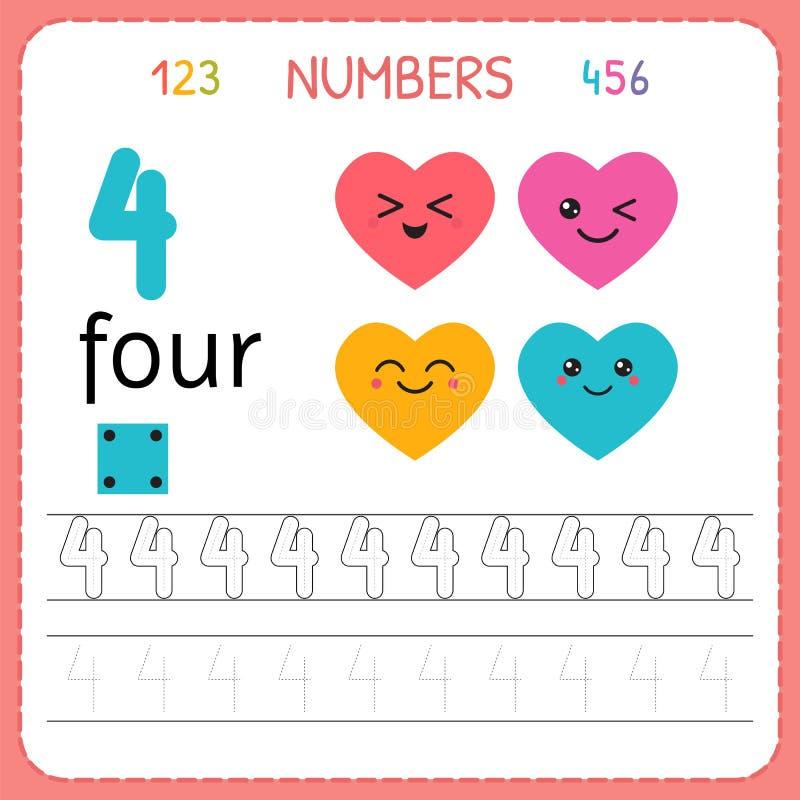 Nummer som spårar arbetssedeln för förträning och dagis Skriva nummer fyra Övningar för ungar Matematiklekar stock illustrationer
