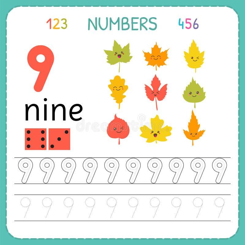 Nummer som spårar arbetssedeln för förträning och dagis Skriva nummer nio Övningar för ungar Matematiklekar stock illustrationer