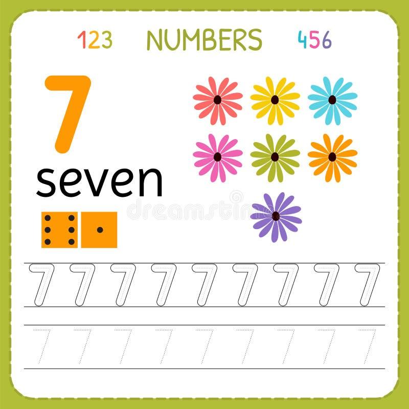 Nummer som spårar arbetssedeln för förträning och dagis Skriva nummer sju Övningar för ungar Matematiklekar vektor illustrationer