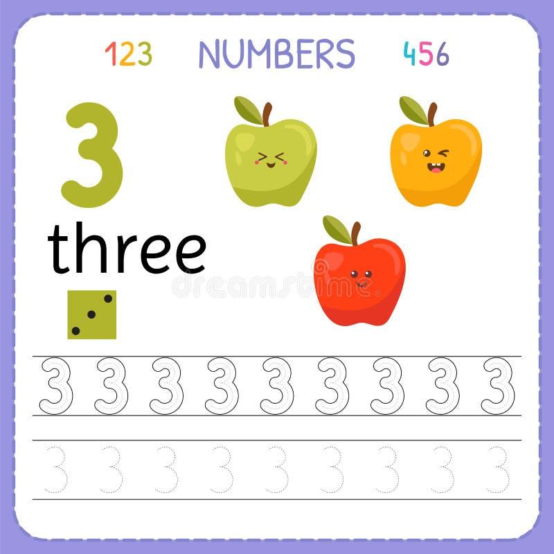 Nummer som spårar arbetssedeln för förträning och dagis Skriva nummer tre Övningar för ungar Matematiklekar stock illustrationer