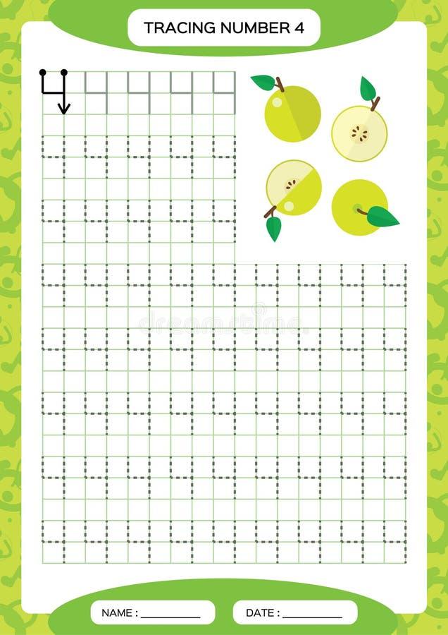 Nummer 4 Spårande arbetssedel fyra äpple - green Förskole- arbetssedel, praktiserande motorisk expertis - spårande rusade linjer  royaltyfri illustrationer
