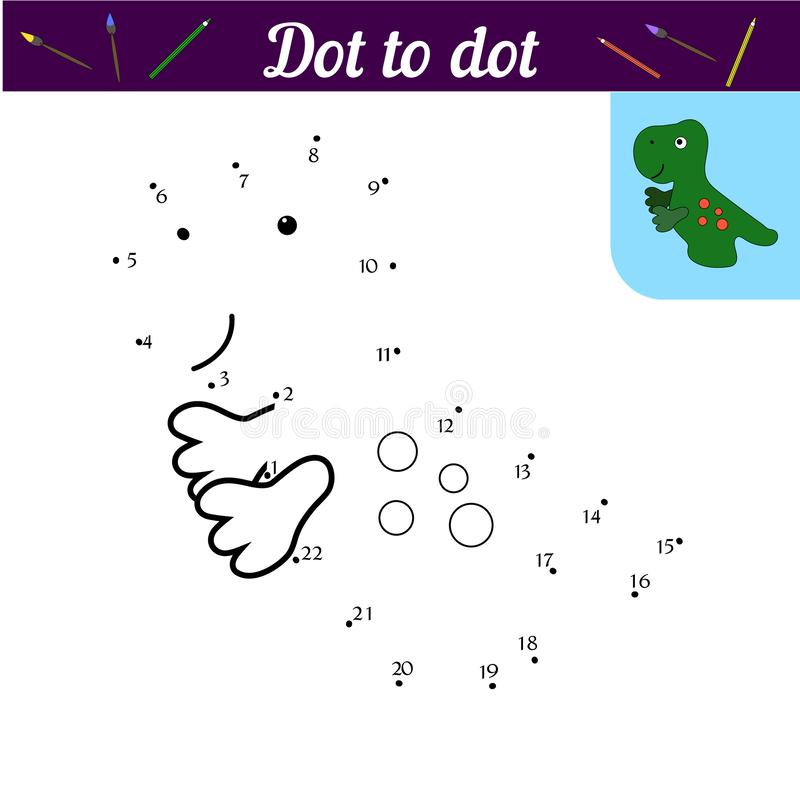 Nummer spelar med dinosaurien Tryck och färg Övningshandskrift f?rbind prickar Med en prövkopia av gräsplan stock illustrationer