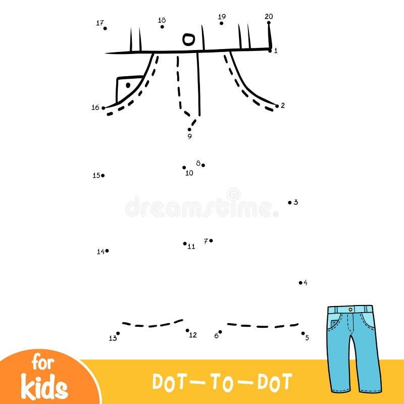 Nummer spelar, utbildningspricken för att pricka leken, jeans vektor illustrationer