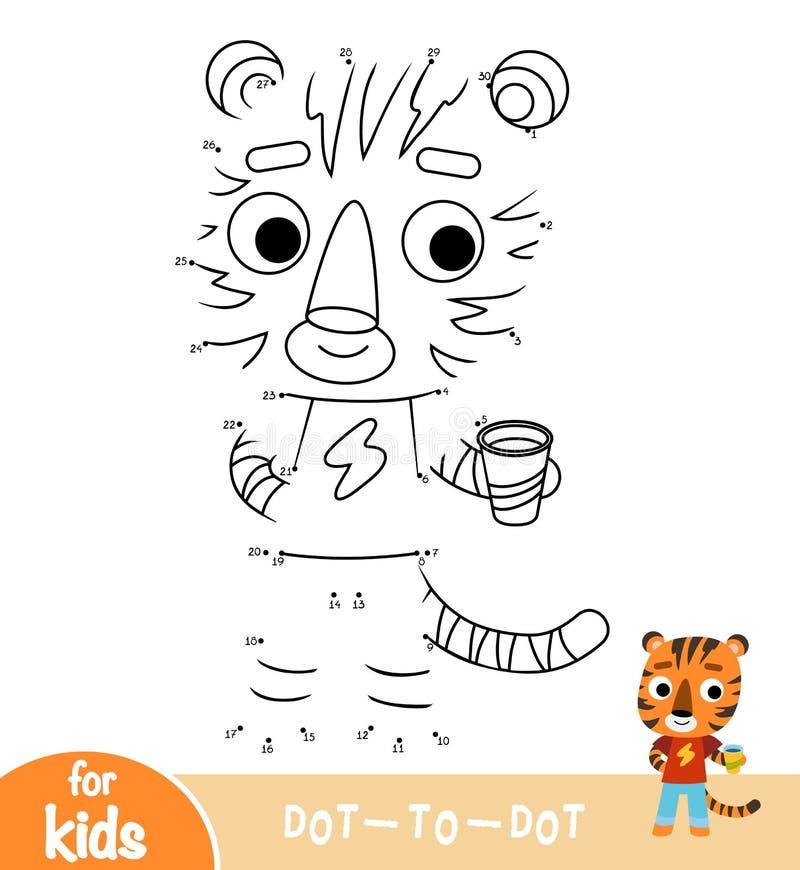 Nummer spelar, utbildningspricken för att pricka leken, tiger stock illustrationer