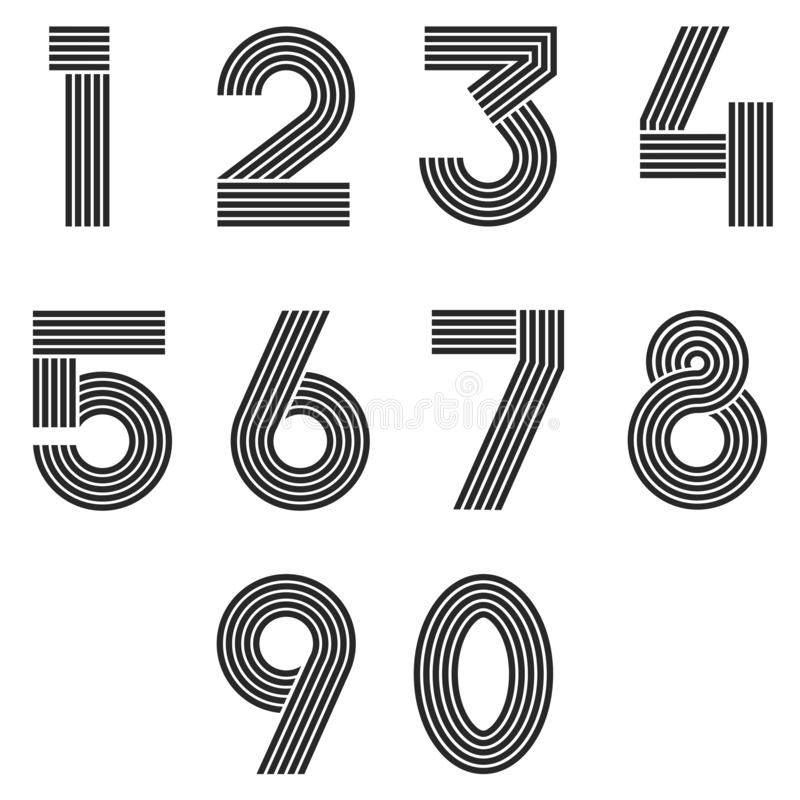 Nummer ställde in den tunna linjen monogrammatematiksymboler, linjära svartvita symboler 1, 2, 3, 4, 5, 6 för matematik för typog royaltyfri illustrationer