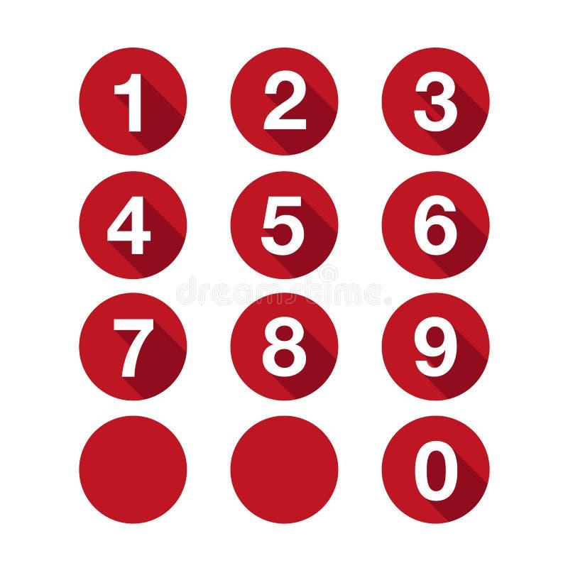 Nummer ställde in rött bakgrunds- och färgbroschyr vektor illustrationer