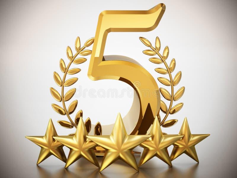 Nummer 5, sterren en laurels op witte achtergrond 3D Illustratie vector illustratie