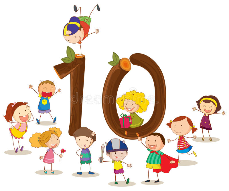 Nummer tio royaltyfri illustrationer