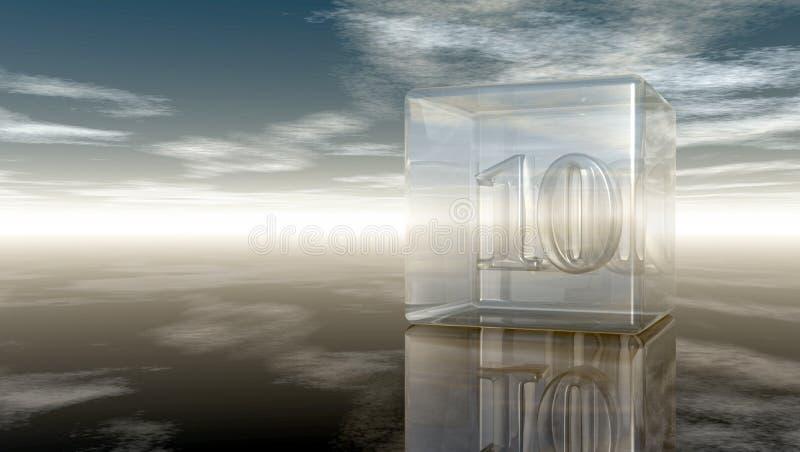 Nummer tio i den glass kuben stock illustrationer