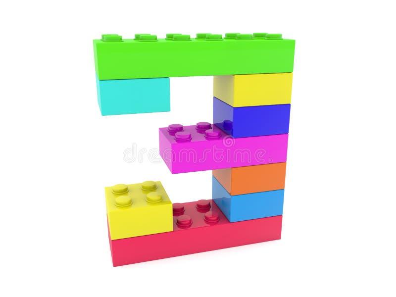 Nummer tre som byggs från leksaktegelstenar vektor illustrationer