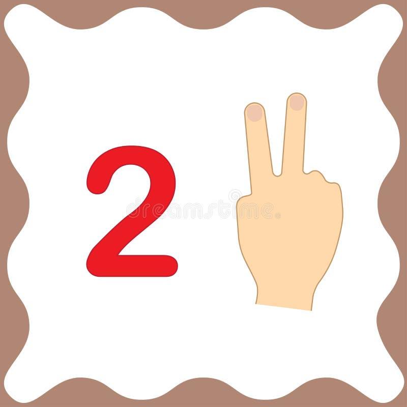 Nummer 2 två, bildande kort som lär att räkna med fingrar stock illustrationer