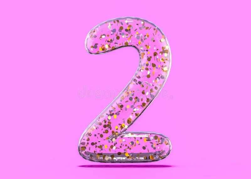 Nummer twee Alfabet van transparante folieballons 3d royalty-vrije illustratie