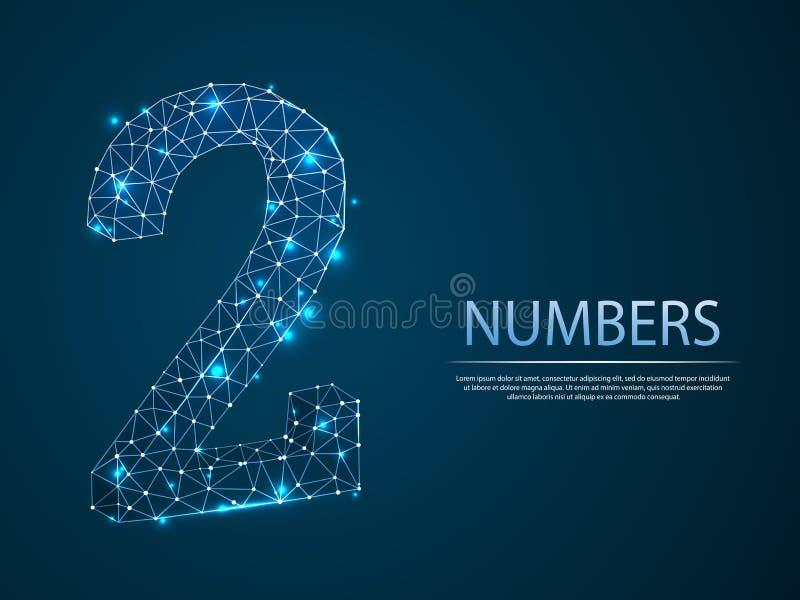 Nummer twee 3D lage poly abstracte illustratie Vectorcijfer 2 wireframeconcept royalty-vrije illustratie