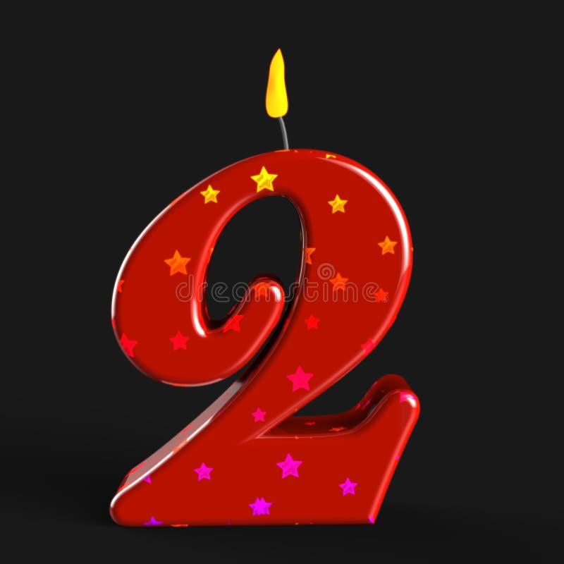 Nummer Twee de Tweede Verjaardag van Kaarsmiddelen of vector illustratie
