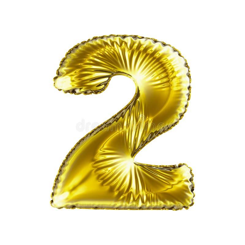 Nummer 2 twee gemaakt van gouden die ballon op een witte achtergrond wordt geïsoleerd vector illustratie