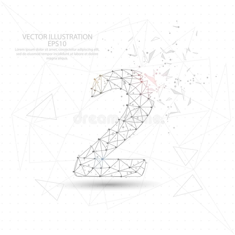 Nummer twee het digitaal getrokken lage polykader van de driehoeksdraad stock illustratie