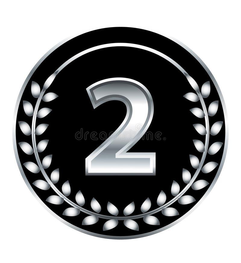 Nummer Twee Medaille Stock Foto