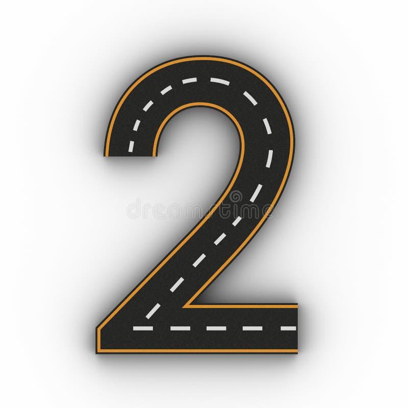 Nummer twee symbolen van de Cijfers in de vorm van een weg met het witte en gele lijnnoteringen 3d teruggeven royalty-vrije stock foto's
