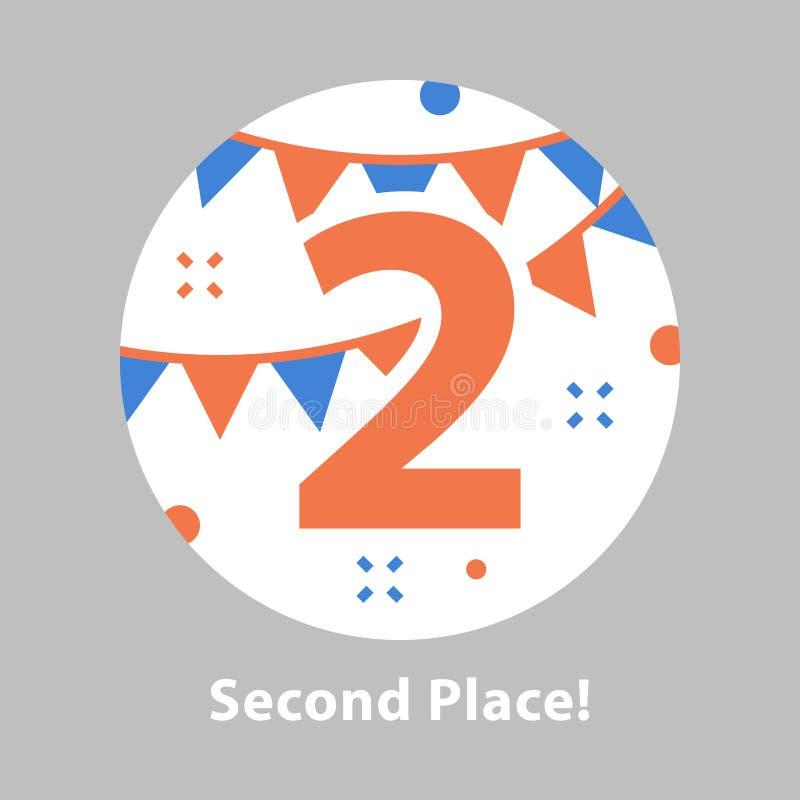 Nummer twee, tweede plaats, toekenningsceremonie, het vieren gebeurtenis, succesvolle verwezenlijking stock illustratie
