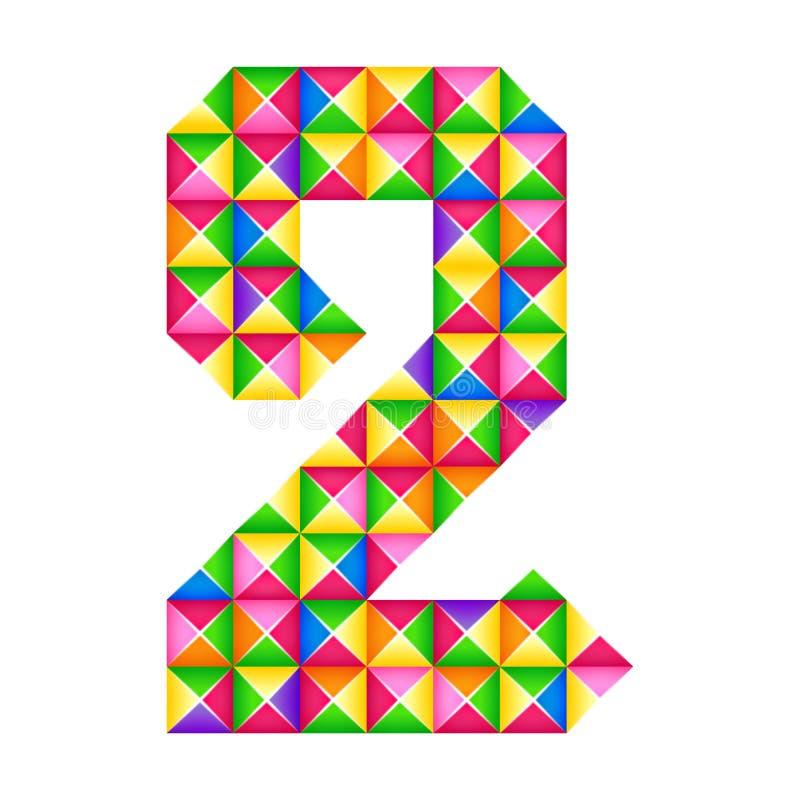 Nummer 2 tweede Realistisch 3D geïsoleerd origamieffect Cijfer van alfabet, cijfer stock illustratie