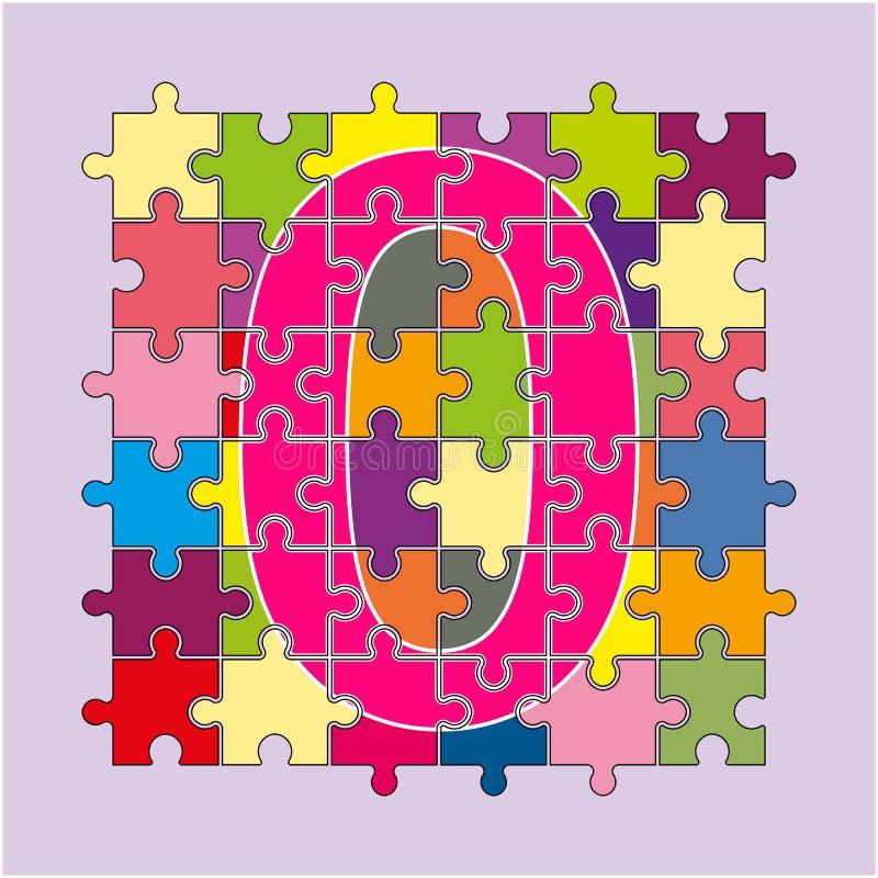Nummer 0 utgöras av fragment av kulör puzzlesnumber 0 är M royaltyfri illustrationer