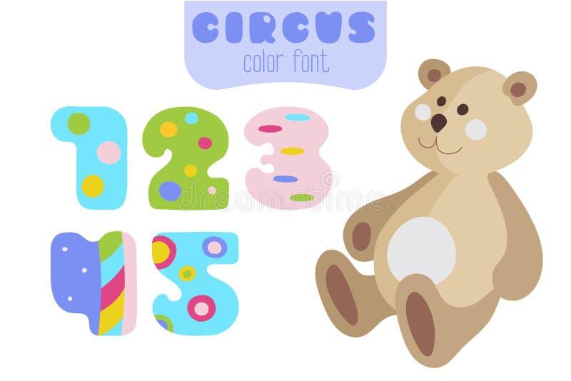 Nummer van de beeldverhaalstijl 1, 2, 3, 4, 5 en teddybeer stock illustratie