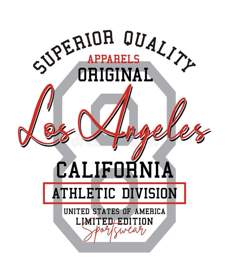 Nummer 8 van Los Angeles typografieontwerp, de stijl van Verenigde Staten, voor kleding en de grafiek van de t-shirtdruk, vectore stock illustratie