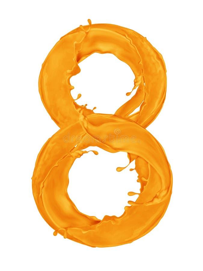 Nummer 8 van plonsen van oranje verf op witte achtergrond wordt gemaakt die royalty-vrije stock afbeelding