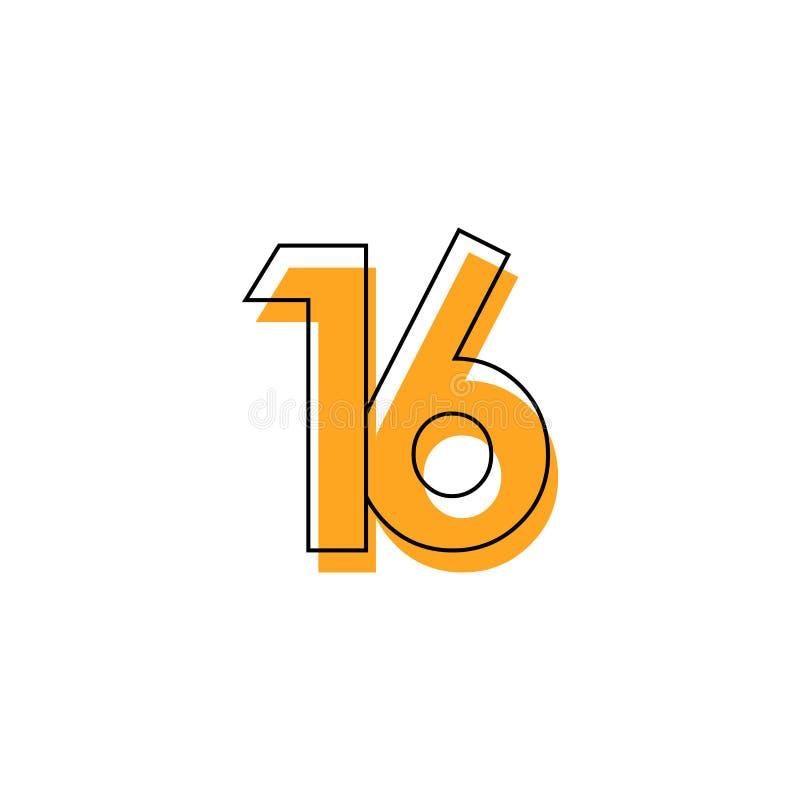 Nummer 16 Vector de Illustratieontwerp van het Malplaatjeontwerp voor Verjaardagsviering stock illustratie