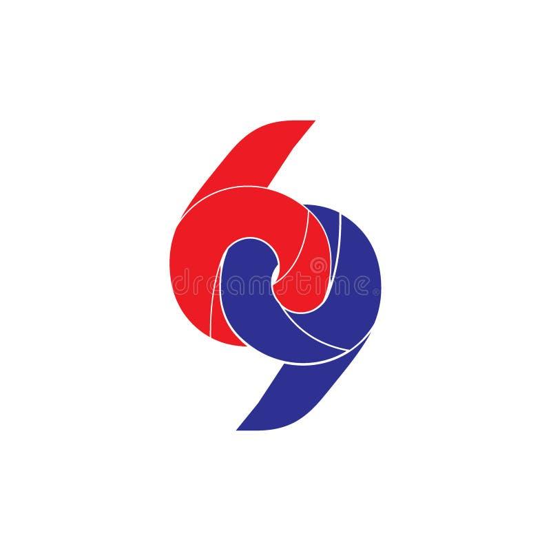 Nummer 69 verbonden geometrisch krommenembleem vector illustratie