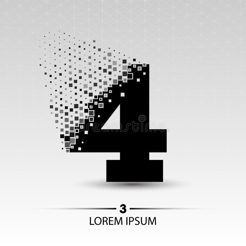 Nummer vier embleemontwerp vector illustratie