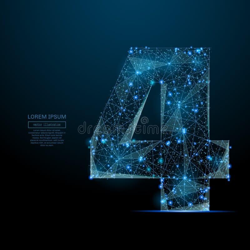 Nummer vier laag polyblauw vector illustratie