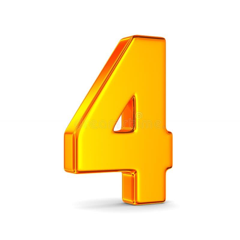 Nummer vier op witte achtergrond Ge?soleerde 3d illustratie royalty-vrije illustratie