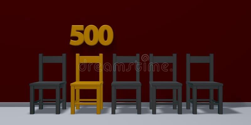 Nummer vijf honderd en rij van stoelen vector illustratie