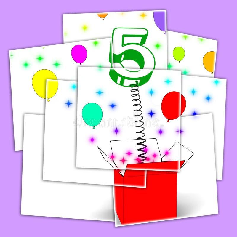 Nummer Vijf van de de Vertoningenverrassing van de Verrassingsdoos de Partij of de Festiviteit vector illustratie