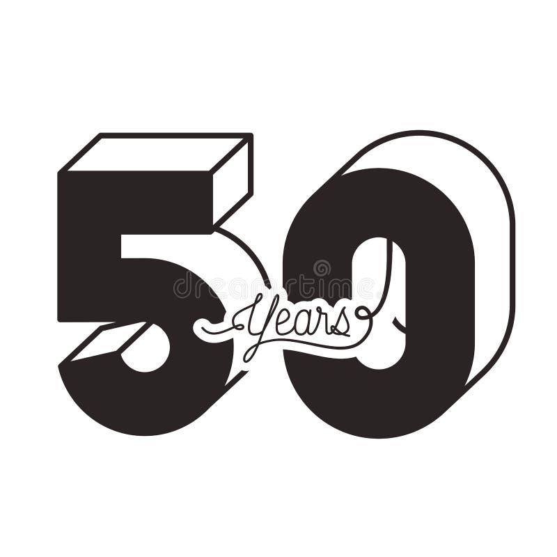 Nummer 50 voor de kaartpictogram van de verjaardagsviering stock illustratie