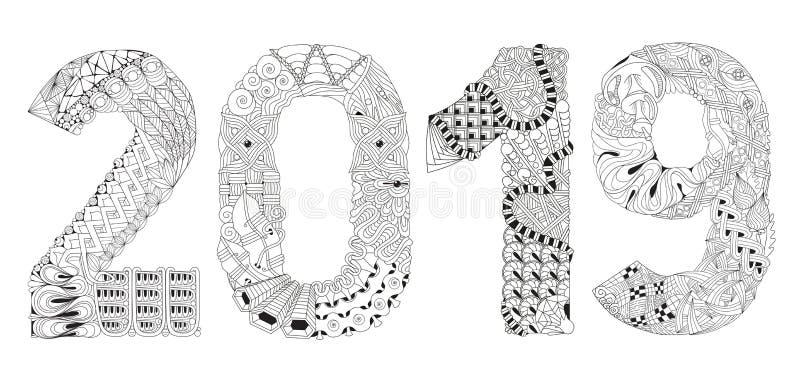 Nummer Zentangle 2019 Dekorativt objekt för vektor royaltyfri illustrationer