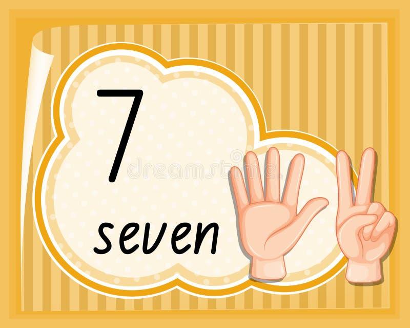 Nummer zeven het malplaatje van het handgebaar stock illustratie