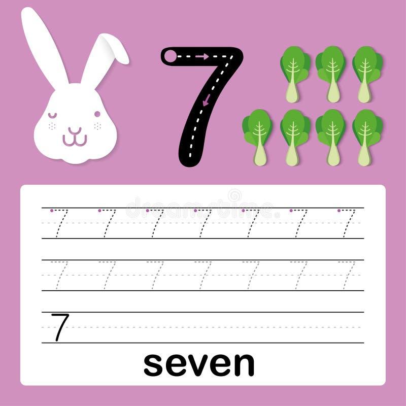 Nummer zeven, kaart voor jonge geitjes die, aantekenvel voor jonge geitjes aan praktijk het schrijven vaardigheid, Vectorillustra royalty-vrije illustratie