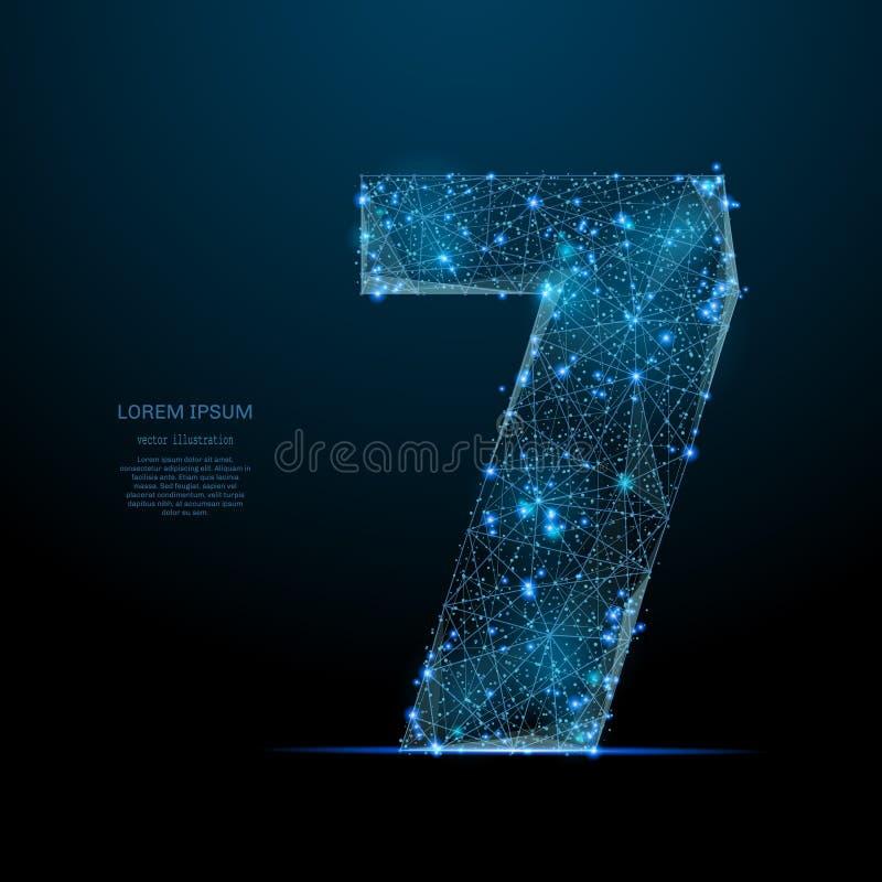 Nummer zeven laag polyblauw vector illustratie