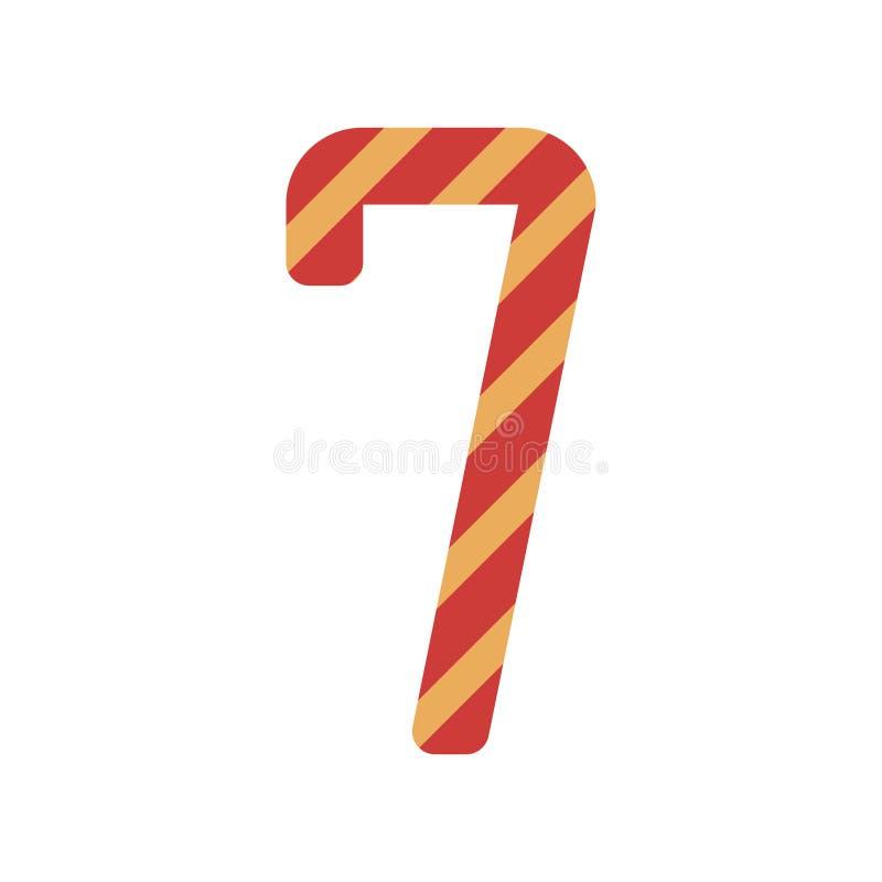 nummer zeven ontwerp met diagonale kleurrijke gestreept stock illustratie