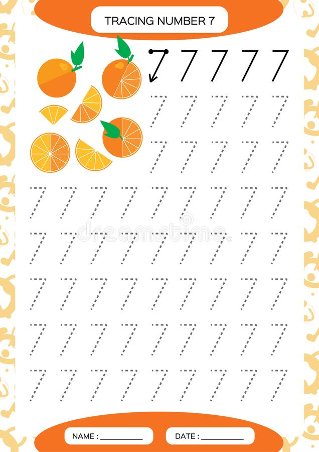Nummer 7 zeven Vindend aantekenvel Sappige Sinaasappel Peuteraantekenvel, het praktizeren motorvaardigheden - vindende gestormde  royalty-vrije illustratie