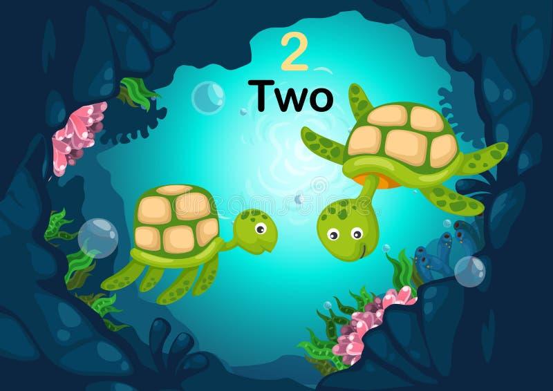 Nummer zwei-Schildkröte unter dem Seevektor lizenzfreie abbildung