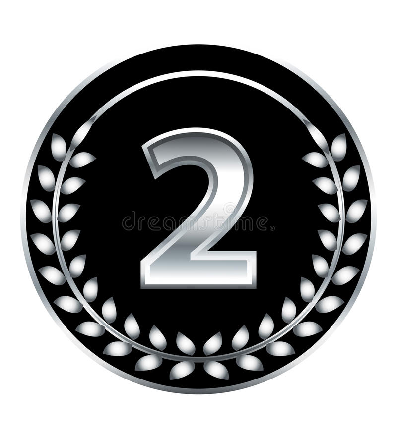 Nummer zweimedaille lizenzfreie abbildung