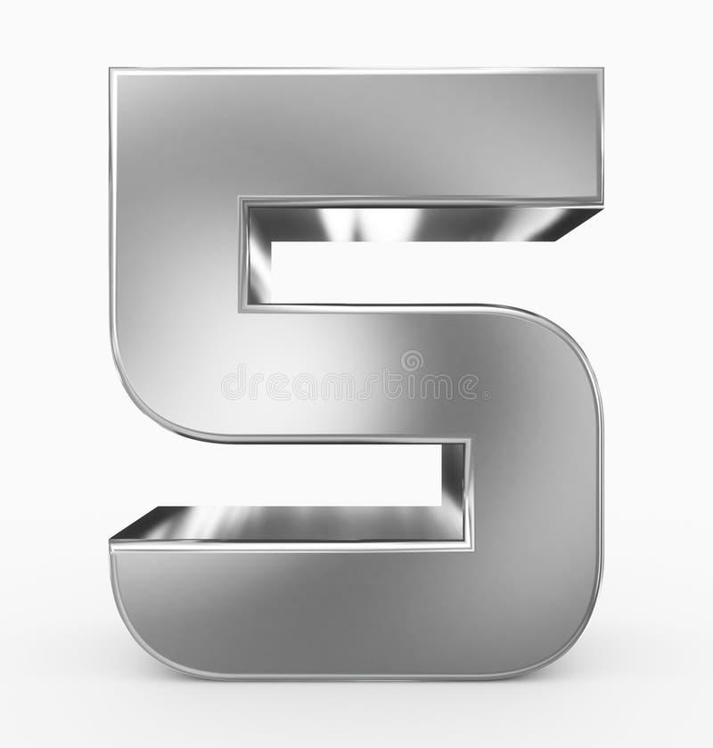 Nummerieren Sie 5 3d das gerundete Kubiksilber, das auf Weiß lokalisiert wird lizenzfreie abbildung